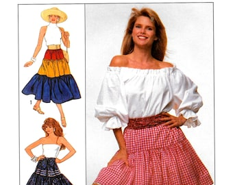 Vintage Simplicity Easy SEWING Pattern 9168, 3 Tier Peasant Skirt, Christie Brinkley Collection, Size Sm-Xl ** Free Shipping**