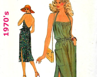 Women's Vintage Midi Halter Wrap, Vintage Sundress, Vintage Bare Back Dress, Very Easy Vogue Sewing Pattern 7356, Size 10 **Free Shipping**