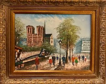 Beautiful Notre Dame Paris Oil On Canvas Painting by J. Bardot