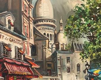 Stunning Le Cadet De Gascogne Montmartre Paris Oil On Canvas Painting