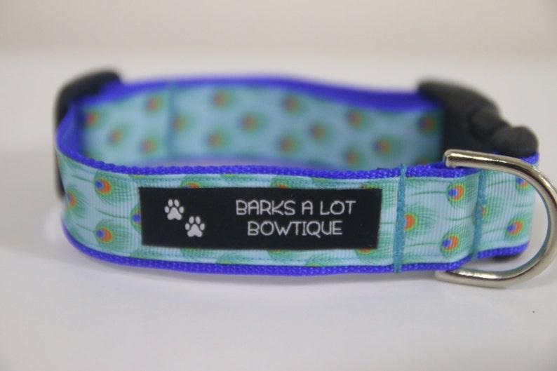 Adjustable Nylon Webbing Ribbon DOG Collar Hand Made / Teal image 0