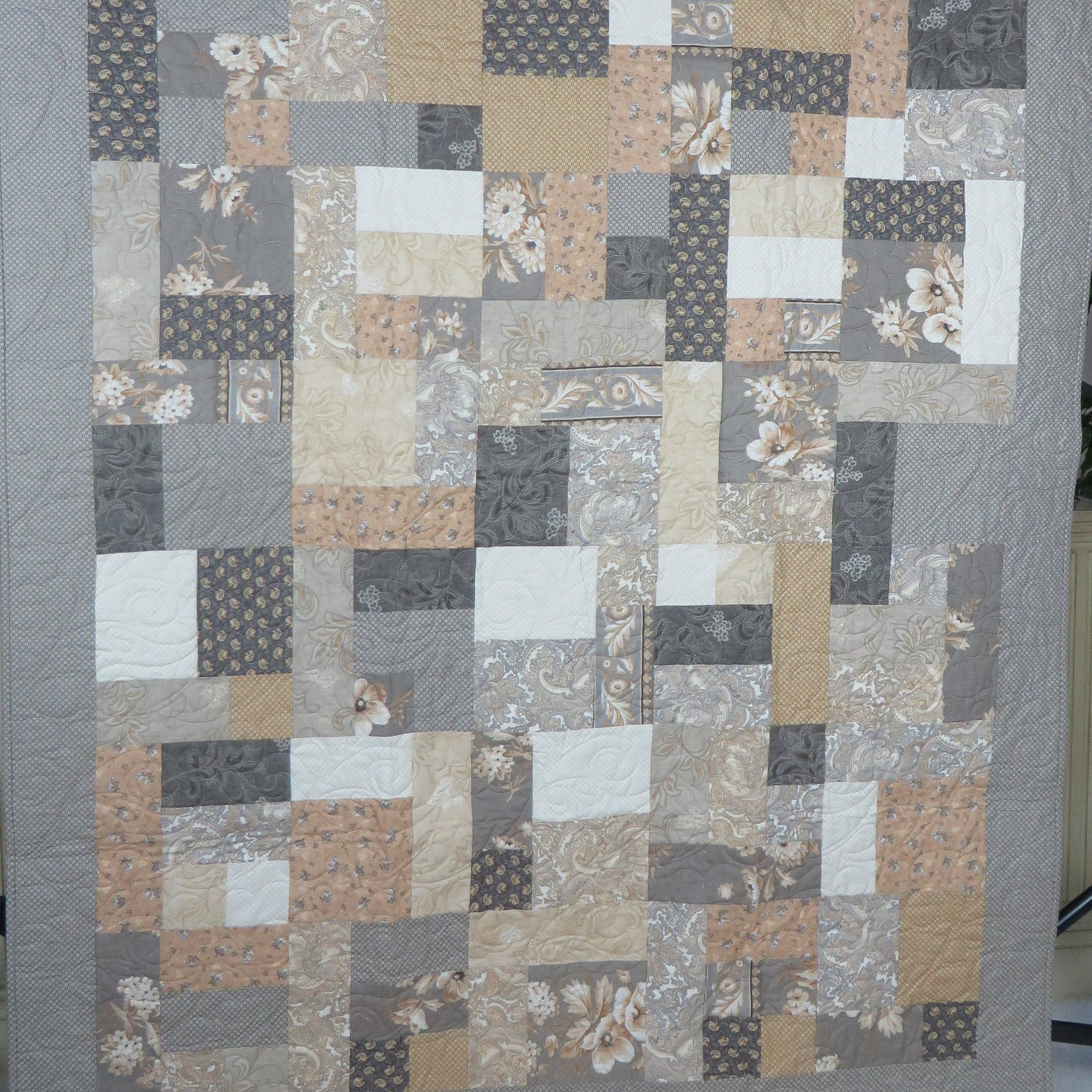 Lap Quilt Throw Neutral Colors Handmade Quilt French