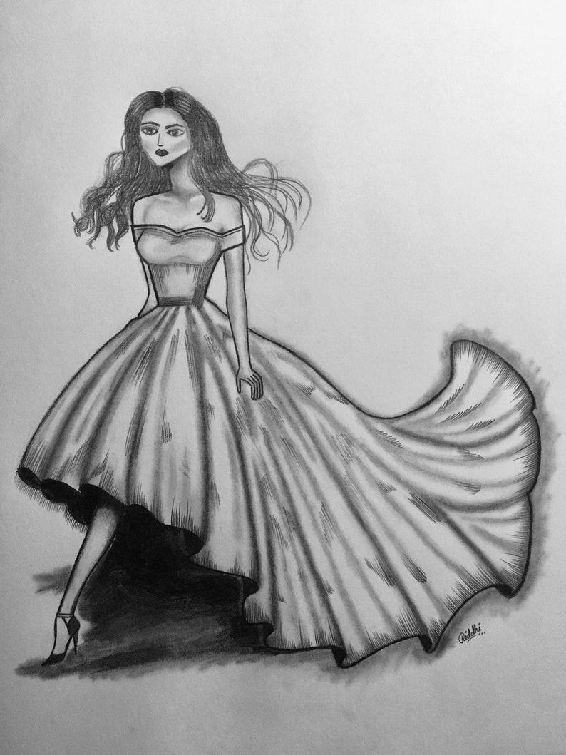 Fashion art custom dress pencil sketch art 11 x 14 can be easily framed