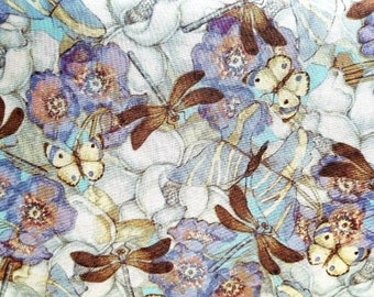 Fabric Cotton Quilting Cloth Home Decor Dragonfly Butterfly