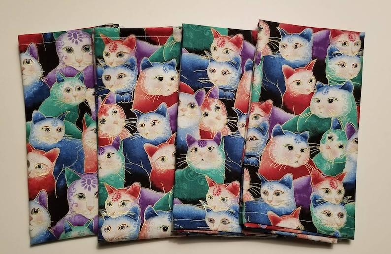 Cat Fabric Napkins Dinner Napkins Cat Cloth Napkins Table Linens Cloth Napkins Cat Fabric Fabric Napkins Table Napkins