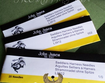 5 Pack - John James Saddlers Harness Needles for Ritza 25 Tiger Thread Hand Sewing Needles