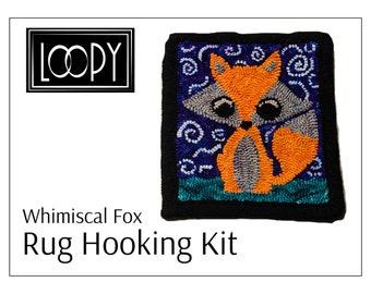 """Rug Hooking Kit, Whimsical Fox, Size 8""""x9"""", DIY kit, Hooked rugs kit, Fox craft kit"""