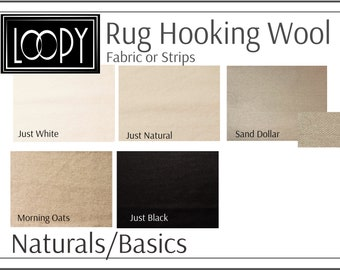 Neutrals/Basics Rug Hooking Wool, 100% wool fabric and wool strips, hand dyed for rug hooking or wool applique