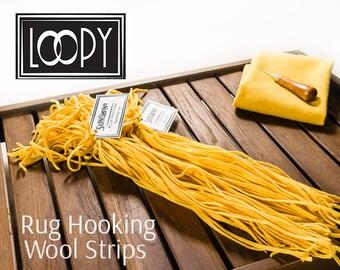 Rug Hooking Wool Strips Yellow (Sunshine) Hand Dyed 100% wool for rug hooking (50 Strips)