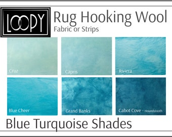 Blue Turquoise Rug Hooking Wool, 100% wool fabric and wool strips, hand dyed for rug hooking or wool applique