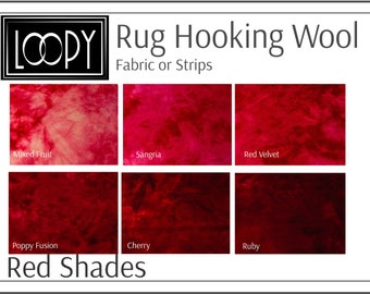 Red Rug Hooking Wool, 100% wool fabric and wool strips, hand dyed for rug hooking or wool applique