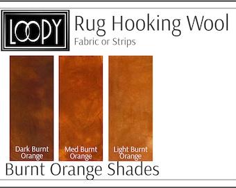 Burnt Orange Rug Hooking Wool, 100% wool fabric and wool strips, hand dyed for rug hooking or wool applique