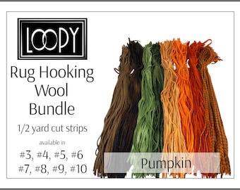 Rug hooking wool bundles, mixed bundle pack, Pumpkin Rug Hooking Wool (orange, green, brown), 1/2 yard cut strips