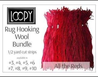 Rug hooking wool bundles, mixed bundle pack, Red mix Rug Hooking Wool, 1/2 yard cut strips