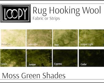 Rug Hooking Wool Moss Green Shades, Green Rug Hooking Wool