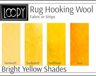 Yellow Rug Hooking Wool, 100% wool fabric and wool strips, hand dyed for rug hooking or wool applique