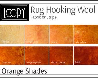 Orange Wool, Rug Hooking Wool Orange Shades, Bright Orange Light Dark Orange, Rug Hooking Wool
