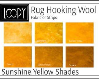 Sunshine Yellow Rug Hooking Wool, 100% wool fabric and wool strips, hand dyed for rug hooking or wool applique