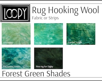 Forest Green Rug Hooking Wool, 100% wool fabric and wool strips, hand dyed for rug hooking or wool applique