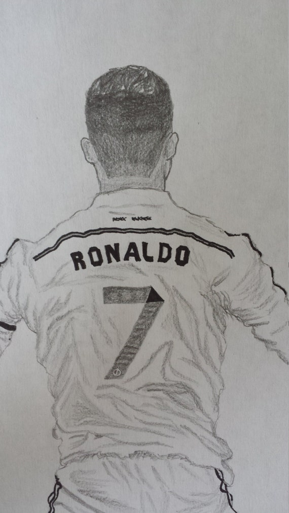 Items Similar To Graphite Drawing Of Cristiano Ronaldo Real Madrid