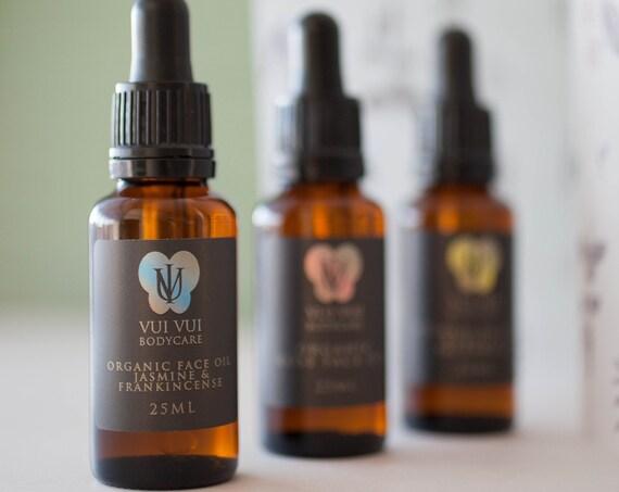 Jasmine Sambac & Frankincense Sacra - Finest Organic Face Oil - Abyssinian Oil / Baobab Oil / Raspberry Seed Oil
