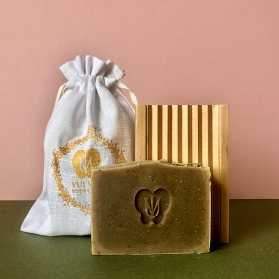 Natural Soap + Wooden Dish Set with drawstring bag - Choose one face or one body soap per set