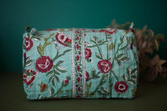 Anokhi Cotton Toiletries Bag - Medium Size 21 x 13 x 11 cm - Hand Blocked Floral Print In 2 Different Colours / Patterns