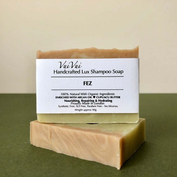 FEZ SHAMPOO SOAP enriched with Organic Argan Oil and Cupuacu Butter. Scent of Rose Geranium & Lavender. Inspired by Morocco.