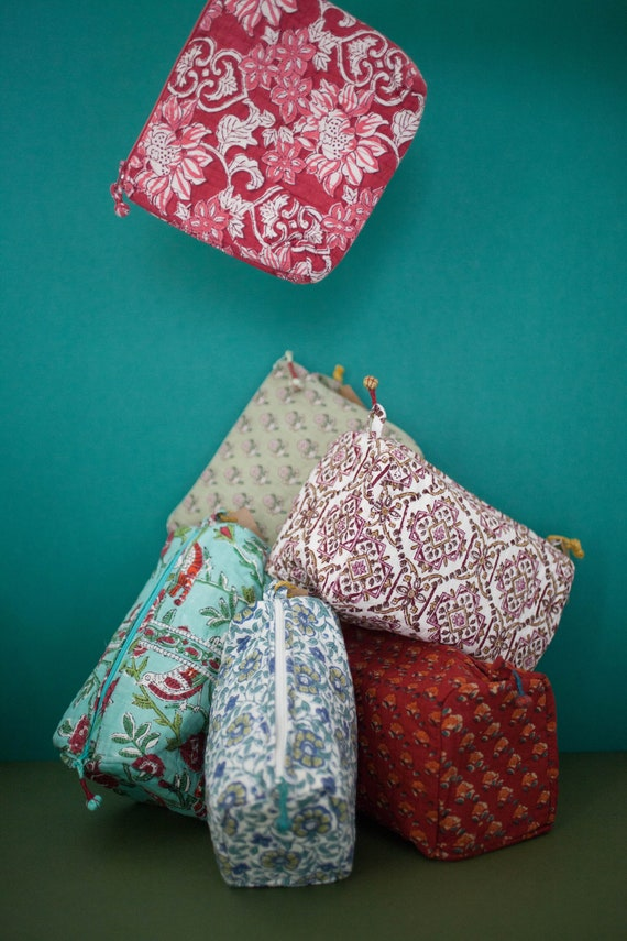 Anokhi Cotton Toiletries Bag - Small Size 20cm x 18cm - Hand Blocked Floral Print In 2 Different Colours / Patterns