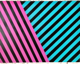 Stripes, pink and blue retro art
