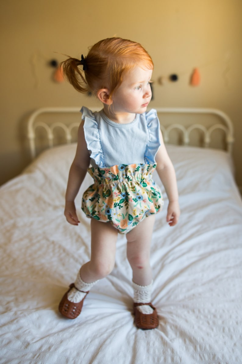 High Waist Baby Bloomers Shorties Boho Baby Denim Bloomers- Retro Baby Bloomers Diaper Cover Heart Pattern- Dark Blue Denim