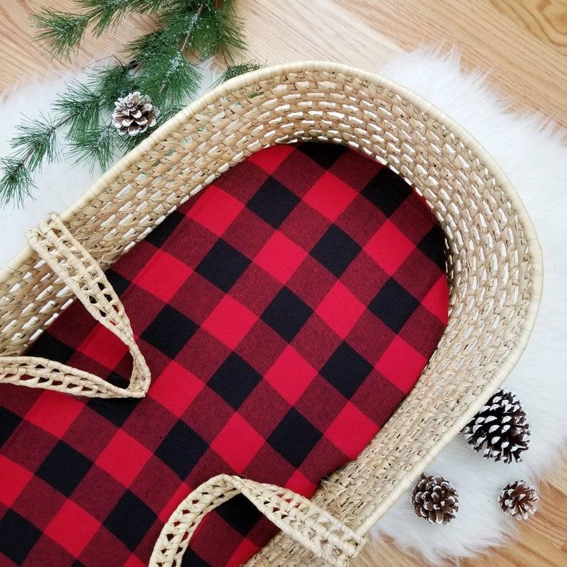 Moses Basket Sheet Buffalo Plaid Bassinet Sheet Bassinet Bedding Christmas Bedding Handmade Sheets Newborn Sheet