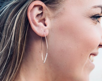 Statement Earrings, Threader Earrings, Minimalist Earrings, Open Hoop Earrings, Rose Gold Earrings, Gold Filled Earrings, Silver Earrings