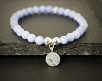 Beaded Bracelet, Charm Bracelet, Rose Gold Bracelet, Sterling Silver Bracelet, Mineral Bracelet, Chalcedony Bracelet, Blue Bracelet