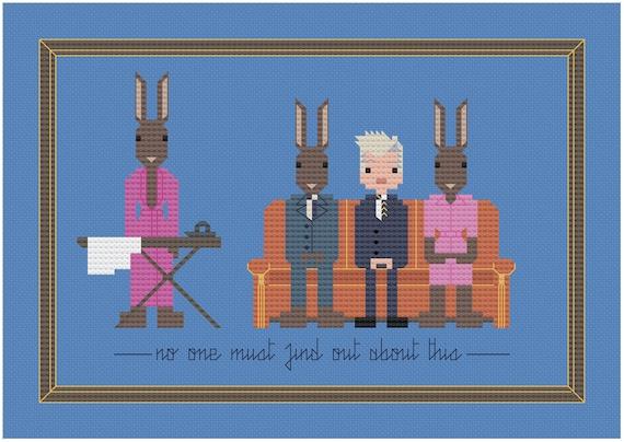 David Lynch Rabbits parody PDF Digital Pattern
