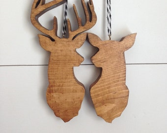 Wood Deer Ornaments