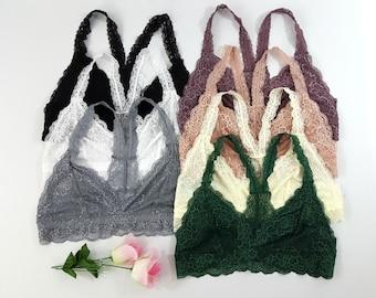 PLUS Size Racerback Lace BRALETTE - Many Colors, lace bralettes bra bras big breast black white gray top