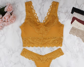 8eed45e1a0ce7 Crochet Lace Padded Bralette Thong Set - multi colors - lingerie sets