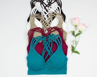 d2a9baab75927 Crossback Bralette Bra - many colors brassiere top lingerie. VUTIQ  9.99