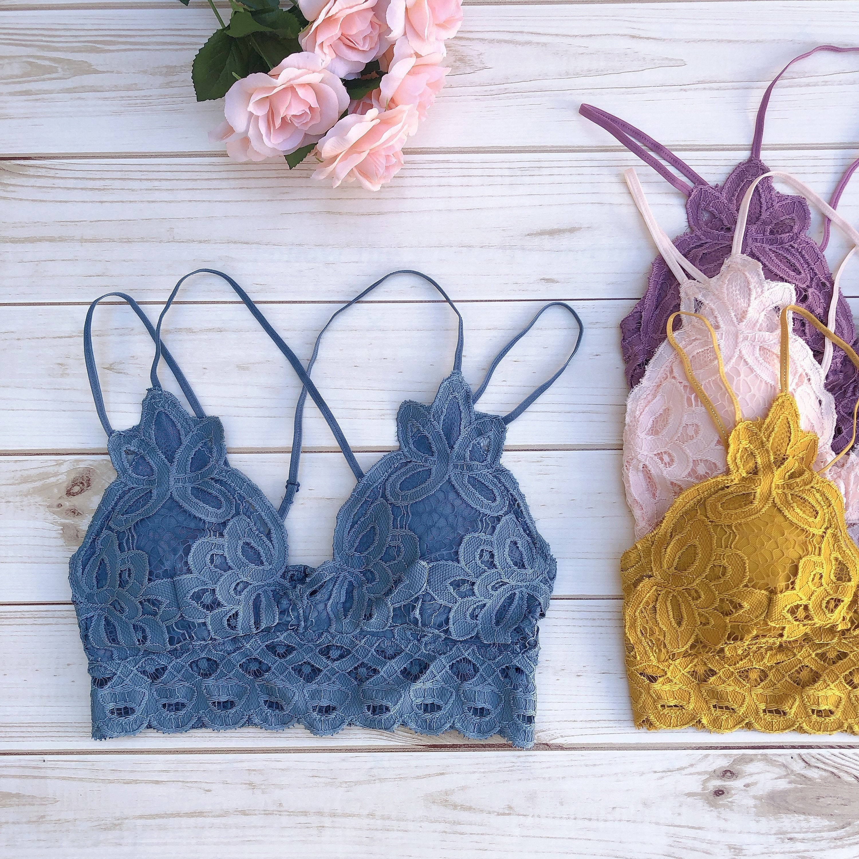 dbf7af6da3b Beautiful Padded Crochet Lace Bralette Top - removable pads - more colors -  long line bra