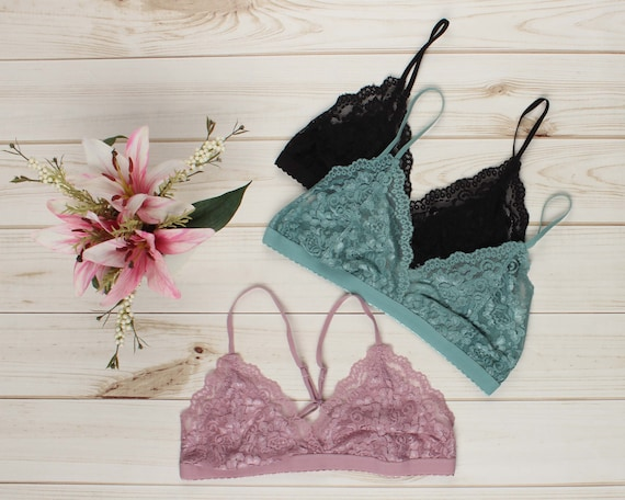 97ca2f840b Triangle Lace BRALETTE many colors floral lace mesh