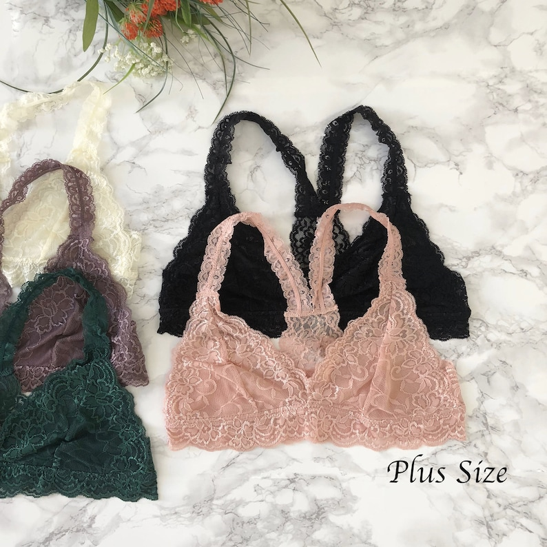7b482d678c503 PLUS Size Racerback Lace BRALETTE Many Colors lace