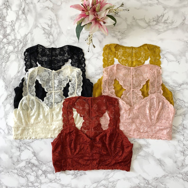 3b6dc2bb5a Sweetheart Racerback LACE BRALETTE many colors lacy