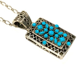 Vintage Turquoise Cluster Snake Eye Pendant Sterling Silver 925 18inch Chain Necklace Native American Indian