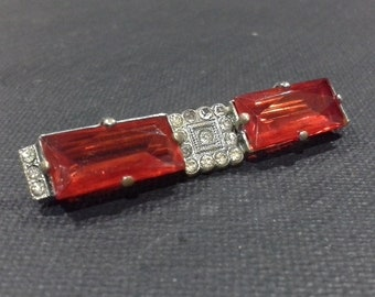 Art Deco Baguette Cut Red Glass Rhinestones  Silver Tone Bar Brooch Pin with Paste Accents Geometric Design