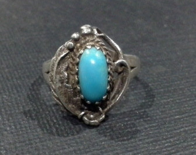 Vintage Southwestern Navajo Sterling Silver & Turquoise Ring Size 6
