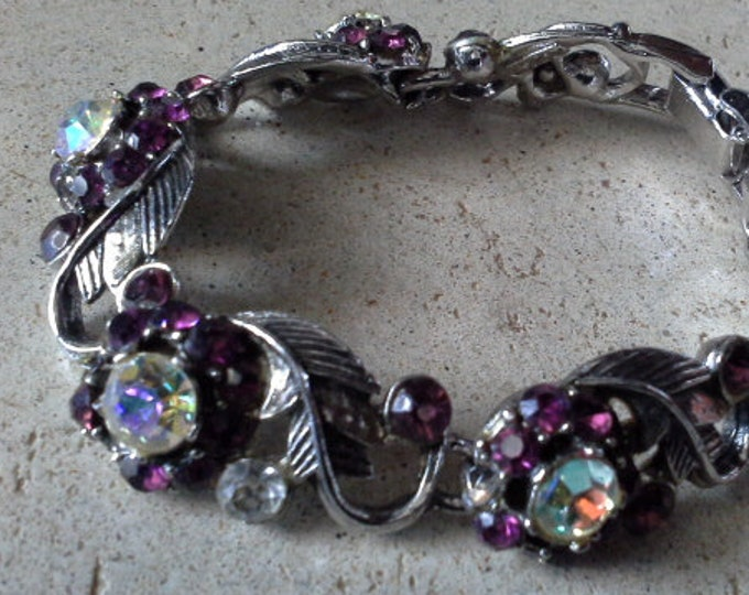 Vintage AB & Burgundy Wine Crystal Silver Tone Flower Bracelet Signed 522 and a Crowned Shield