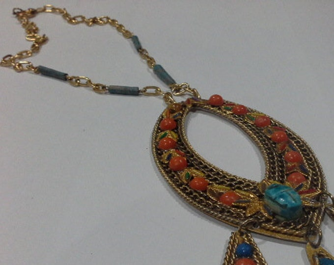 Vintage Whimsical Scarab Beetle Egyptian Revival Ceramic Turquoise Beaded Gold Tone Necklace