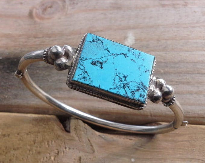 Antique Vintage Hand Wrought Single Square Blue Turquoise Stone Hinged Silver Bangle Southwestern Jewellery