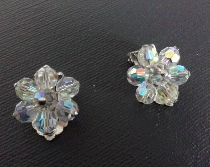 Vintage AB Aurora Borealis Rainbow Crystal Glass Bead Flower Clip On Earrings, Silver Tone Clips c 1950's